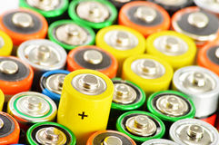 Composition with alkaline batteries. Chemical waste Royalty Free Stock Photography