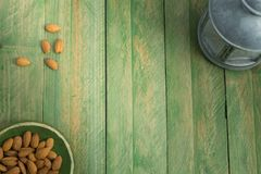 Composition with almonds and lantern royalty free stock images