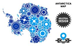 Composition Antarctica Map of Gears. Industrial Antarctica map collage of cogs. Abstract geographic scheme in blue color tints. Vector Antarctica map is designed royalty free illustration