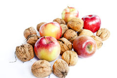 Composition from apples and nuts Stock Photography