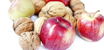 Composition from apples and nuts Royalty Free Stock Photo