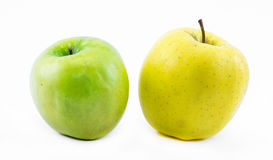Composition of apples on a white background - green and yellow - still life Royalty Free Stock Images