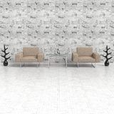 Composition with armchairs. Two comfortable chairs on the background wallpaper newspaper, on a white floor, Ornamental items Royalty Free Stock Images