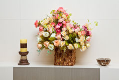 Composition with artificial flowers bouquet Stock Photo