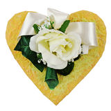 Composition of artificial flowers in heart shape isolated on whi Stock Photo