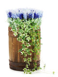 Composition of artificial flowers in old wooden barrel. Stock Photos