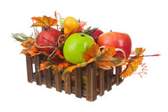Composition from Artificial Fruits and Autumn Leaves in Wooden B Royalty Free Stock Photo