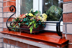 Composition of artificial plants and berries in the flowerpot on the windowsill Stock Image