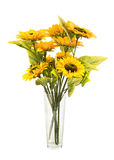 Composition of artificial sunflowers in glass vase isolated on white. Royalty Free Stock Photo