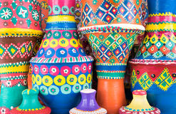 Composition of artistic painted clorful handcrafted pottery vase Royalty Free Stock Images