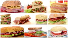 Composition of assorted breads and kebabs stock footage