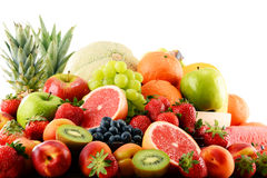 Composition with assorted fruits isolated on white Royalty Free Stock Image