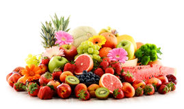 Composition with assorted fruits on white Stock Photo