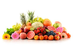Composition with assorted fruits on white Royalty Free Stock Images