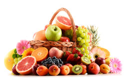 Composition with assorted fruits on white Stock Photography