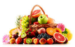 Composition with assorted fruits on white Stock Photos