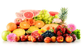 Composition with assorted fruits on white Royalty Free Stock Photos