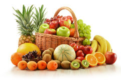 Composition with assorted fruits in wicker basket Stock Photo