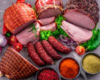 Composition with assorted meat products.  stock photo