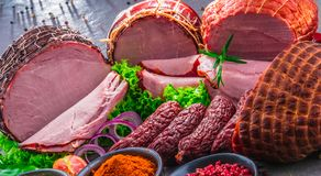 Composition with assorted meat products.  royalty free stock images