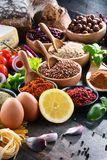 Composition with assorted organic food products on the table Stock Photo