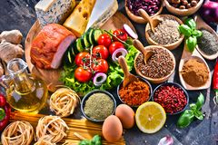 Composition with assorted organic food products on the table royalty free stock image