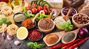 Composition with assorted organic food products on the table stock photos