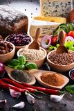 Composition with assorted organic food products on the table royalty free stock photos