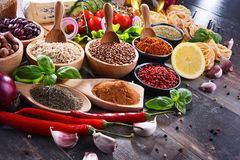 Composition with assorted organic food products on the table Royalty Free Stock Photography