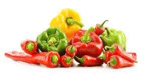 Composition with assorted peppers on white Stock Images