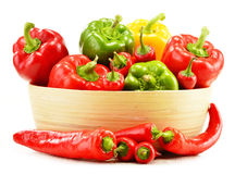 Composition with assorted peppers on white Stock Photos