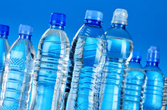 Composition with assorted plastic bottles of mineral water Royalty Free Stock Photo