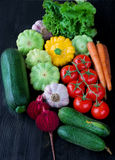 Composition with assorted raw organic vegetables Stock Photos
