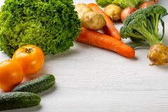 Composition with assorted raw organic vegetables stock image