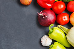 Composition with assorted raw organic vegetables. copy space royalty free stock photography