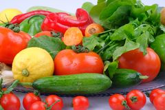Colorful fruits and vegetables background stock photos