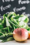 Composition with assorted raw organic vegetables and fruits. Det stock photo