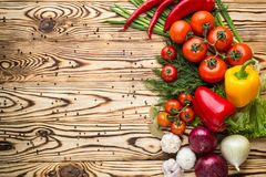 Composition with assorted raw organic vegetables such as tomatoe royalty free stock images