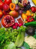 Composition with assorted raw vegetables and fruits royalty free stock photography