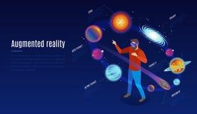 Composition augmentée isométrique en réalité d'astrophysique illustration stock