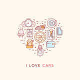 The composition of automotive icons. Set of vector icons of automotive topic. Icons arranged in the shape of heart. Automobile items. Thin line art design. I Stock Photo