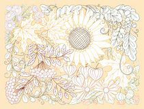 Composition with autumn flowers, leaves and plants. Royalty Free Stock Images