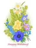 Composition avec des fleurs d'été : pavot, jonquille, anémone, viole Images libres de droits