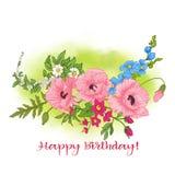 Composition avec des fleurs d'été : pavot, jonquille, anémone, viole illustration libre de droits