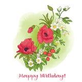 Composition avec des fleurs d'été : pavot, jonquille, anémone, viole illustration stock