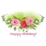 Composition avec des fleurs d'été : pavot, jonquille, anémone, viole Image stock