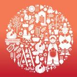 Composition avec des silhouettes de thanksgiving Images libres de droits
