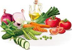 Composition avec des tomates, oignon, poireau, concombre, carottes, pois, illustration stock
