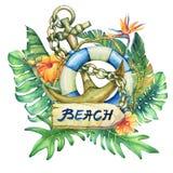 Composition avec la bouée de sauvetage, l'ancre, les fleurs et les plantes tropicales de bateau illustration libre de droits