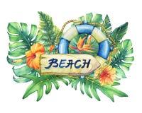 Composition avec la bouée de sauvetage, la plaque signalétique et les plantes tropicales de bateau illustration stock